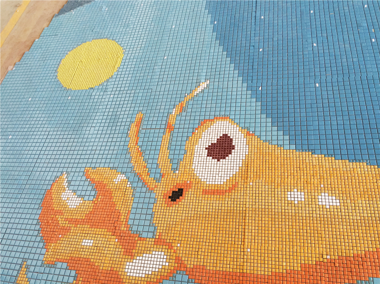 chubby lobster pool ceramic mosaic picture.jpg