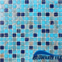 Luxury Blue Mix Gold Line GEO001KST-Mosaic tile, Glass mosaic, China glass mosaic, Glass mosaic for kitchen backsplash