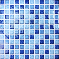 Blossom Blue Blend BCH001-Mosaic tile, Ceramic mosaic, Glossy mosaic tile, Swimming pool mosaic tile
