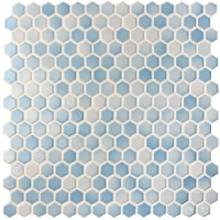 Hexagon Blue Mix BCZ007-Mosaic tile, Pool tiles, Porcelain hexagon mosaic tile