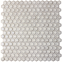Hexagon Glazed White BCZ604-Mosaic tile, White ceramic mosaic, White mosaic tile bathroom, White mosaic pool tiles