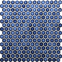 Hexagon Dark Blue BCZ607-Mosaic tile, Pool tile, Blue hexagon pool tile