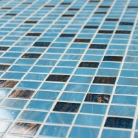 Luxury Blue Mix Gold Line BGZ011-Mosaic tile, Glass mosaic, hot melt glass mosaic, Cheap mosaic tile for swimming pool