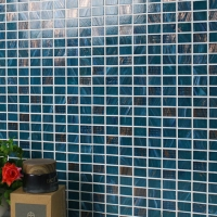Luxury Blue Mix Gold Line BGZ009-Mosaic tile, Glass mosaic, Pool glass mosaic tile, China Melting glass mosaic tile