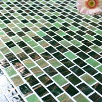 Luxury Green Gold Line BGZ018-Mosaic tile, Glass mosaic, Green glass mosaic tile, Hot melt mosaic tiles from China