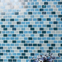 Luxury Blue Gold Line BGZ012-Mosaic tile, Glass mosaic, Glass subway mosaic tile, Hot melt mosaic tile for sale