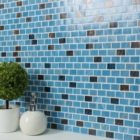 Luxury Blue Blend Gold Line BGZ010-Mosaic tile, Glass mosaic, Melting glass mosaic tile, Glass subway tiles