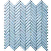 Strip Pale Blue BCZ618A-Herringbone mosaic, Ceramic herringbone mosaic, Herringbone mosaic ceramic tile