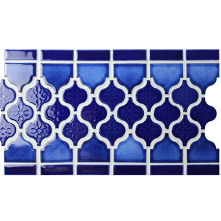 Border Blue Lantern Design BCZB010,Mosaic tile, Ceramic mosaic border, Tile border in shower