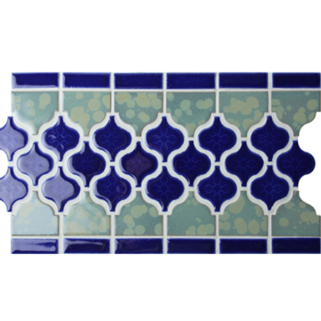 Border Blue Arabesque BCZB011,Mosaic tile, Ceramic mosaic border, Tile borders on floor