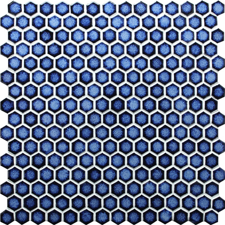 Hexagon Dark Blue BCZ607,Mosaic tile, Pool tile, Blue hexagon pool tile
