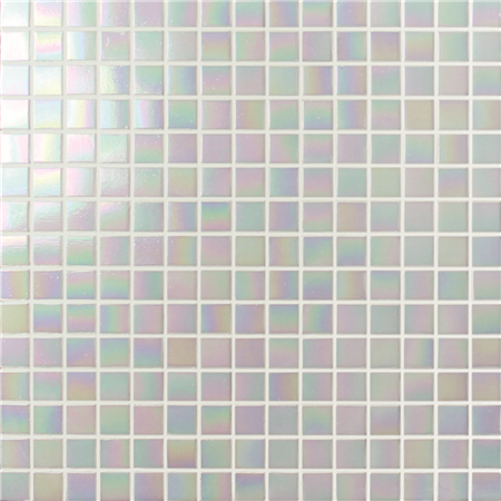 Rainbow Iridescent White BGE901,Mosaic tile, Glass mosaic, White glass mosaic for bathroom, Pool glass mosaic tile