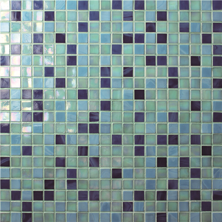 Jade Iridescent Blue BGC002,Mosaic tile, Custom glass mosaic pools, Blue glass mosaic pool tile