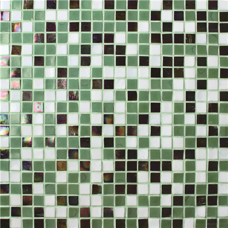 Square Green Mixed BGC025,Pool tile, Swimming pool mosaic, Glass mosaic, Glass mosaic tile green