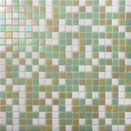 Square Green Mixed BGC036,Pool tile, Pool mosaic, Glass mosaic, Green swimming pool mosaic tile
