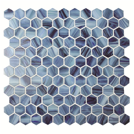 Hexagon Blue BGZ021,Pool Mosaic, Glass mosaic tile, Hexagon mosaics