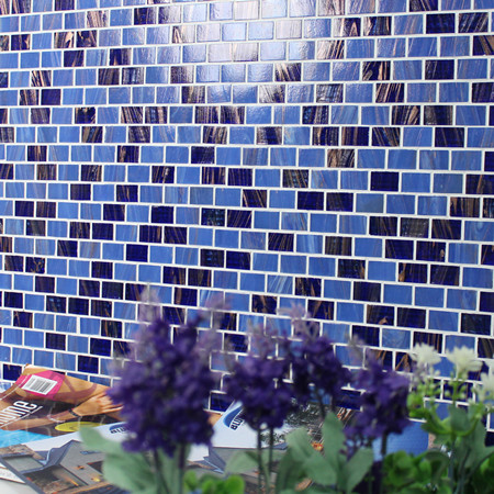 Luxury Dark Blue Gold Line BGZ014,Mosaic tile, Glass mosaic, Glass mosaic tile for swimming pool design