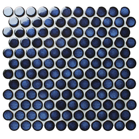 Dark Blue BCZ624A,Round mosaic tiles, Blue penny round mosaic, Penny round circular mosaic