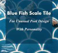 Blue Fish Scale Tile For Unusual Pool Design With Personality-blue fish scale tile, blue fish scale mosaic tile, fish scale pool tile, crackle mosaic tile